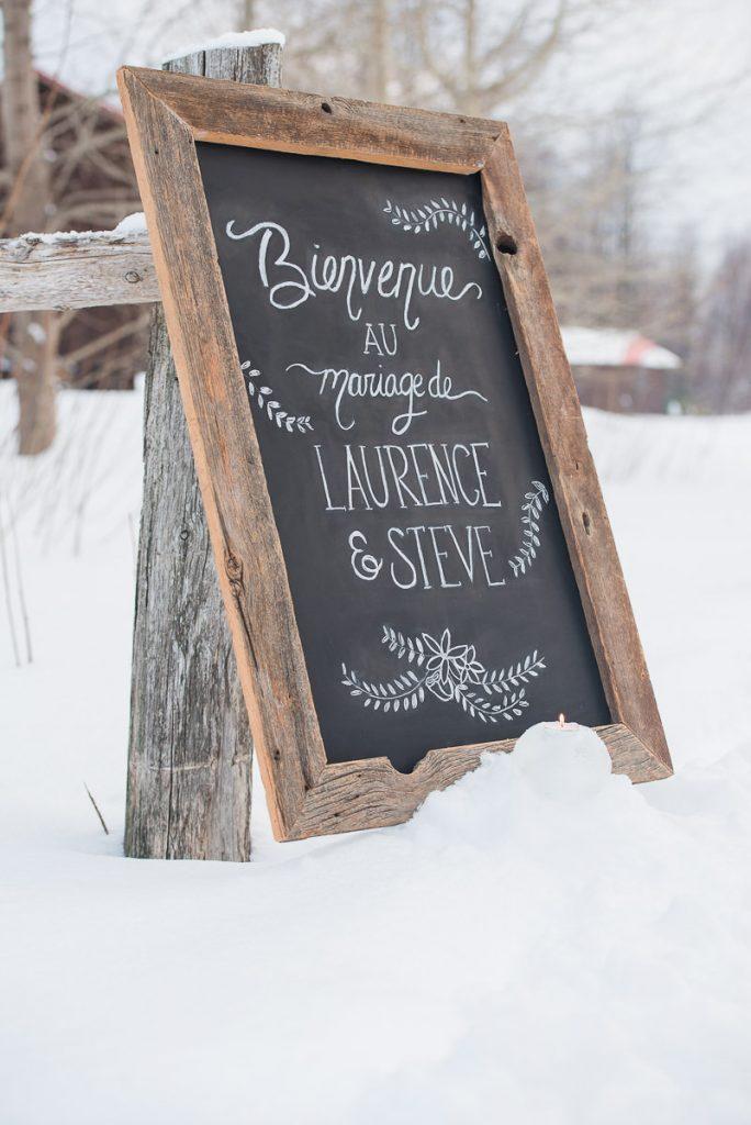 table craie mariage salle de reception hiver neige