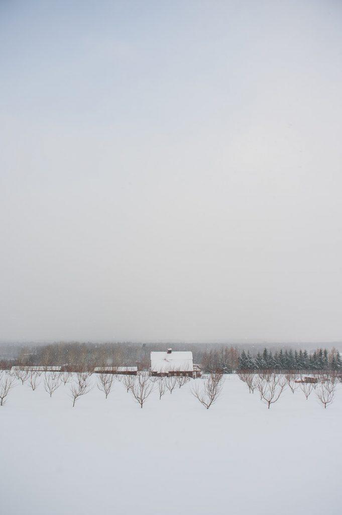 paysage hiver verger neige salle de reception mariage