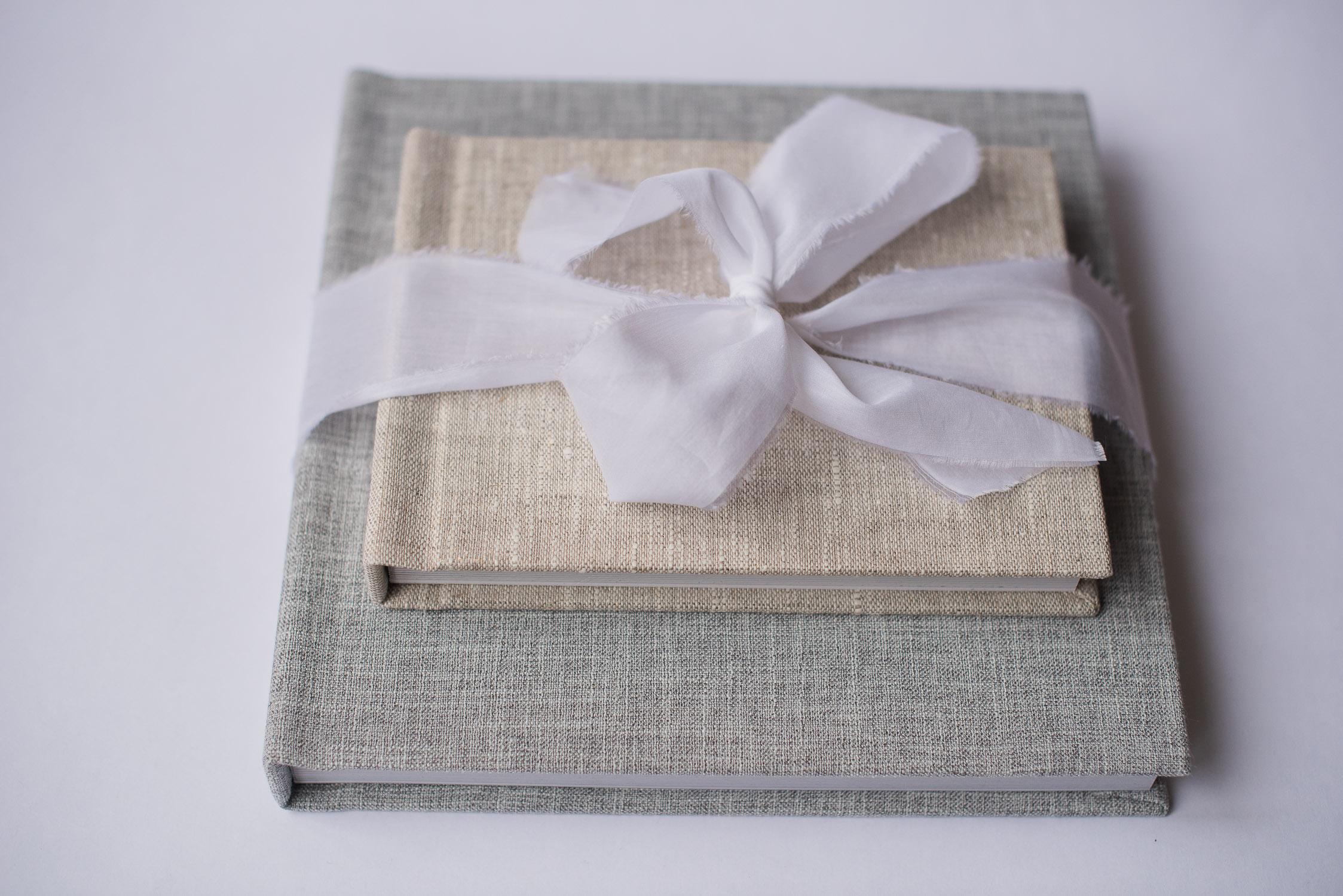 album professionnel tissu lin vintage beige gris ruban gta imaging